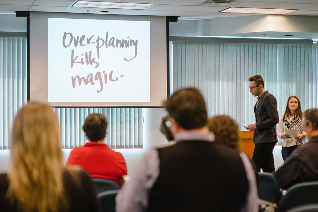 """Image of a presentation screen that says """"Overplanning kills magic"""""""