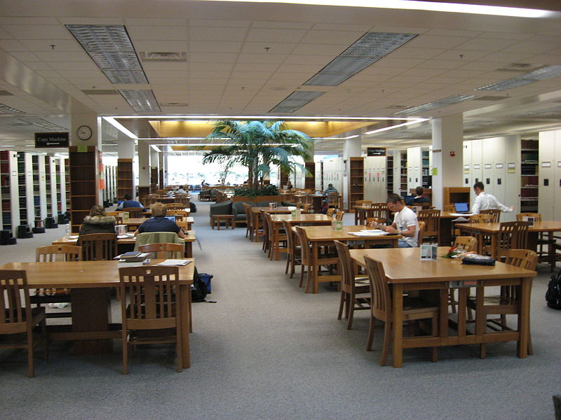 Image of the interior of a college or university library.
